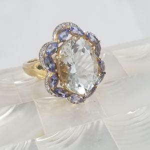 Genuine 14kt Aquamarine/Tanzanite/Dia Ring  Sz 7